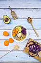 Bowl of quinoa, avocado, roasted chick-peas, sweet potato, red cabbage and hummus - LVF004540