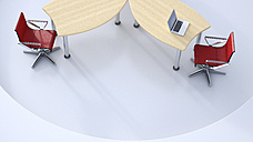 Desk with with laptop and two red swivel chairs, 3D Rendering - UWF000770
