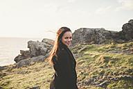 Spain, Ferrol, portrait of smiling  woman - RAEF000875