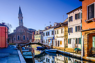 Italy, Veneto, Burano, view to colourful row of houses at sunlight - HAMF000152