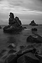 Spain, Costa Brava, Lloret de Mar, rock formations at Cala dels Frares - SKCF000060