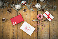 Christmas decoration and wrapped presents on wood - LVF004548