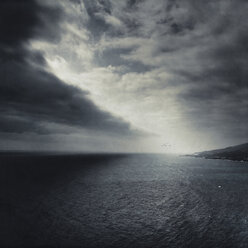 Spain, La Palma, clouded sky over  east coast - DWIF000693