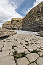 UK, Wales, Dunraven Bay, Limestone formations at low tide - SHF001876