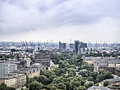 Germany, Hamburg, cityscape with Koehlbrand bridge and harbor cranes - KRPF001732