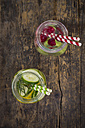 Two glasses of infused water with different tastes - LVF004563