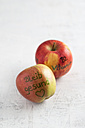 Two apples marked with food colouring - MYF001346