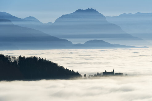 Austria, Bregenz, View of Lake Constance in a sea of fog - SH001888