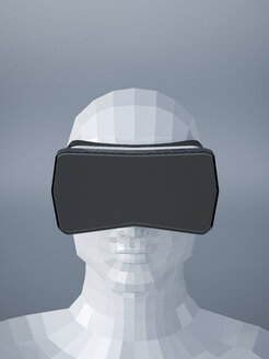 Dummy with Virtual Reality Glasses, 3D Rendering - UWF000781