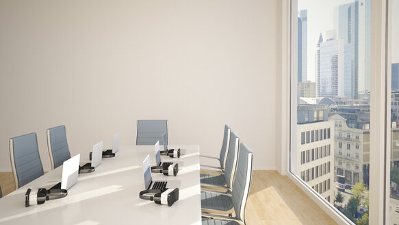 Conference table with virtual reality glasses, 3D Rendering - UWF000784