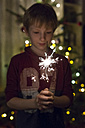 Boy holding sparkler at Christmas time - SARF002596