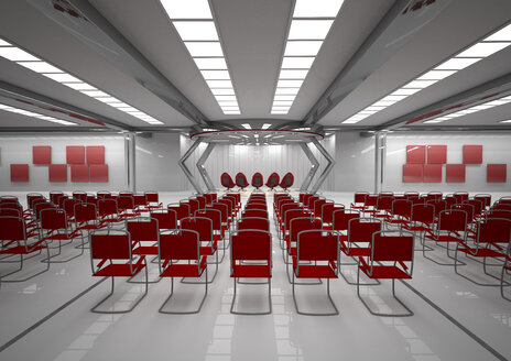 Futuristic room with red chairs, 3D Rendering - ALF000684