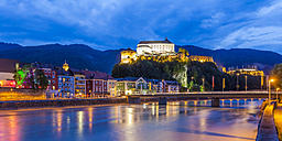 Austria, Tyrol, Kufstein, Fortress, Inn river and old town in the evening - WD003549