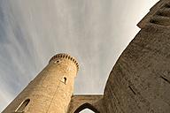Spain, Palma de Mallorca, tower and wall of Castell de Bellver seen from below - VIF000468
