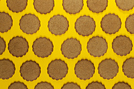 Rows of ginger cookies on yellow background - VABF000262