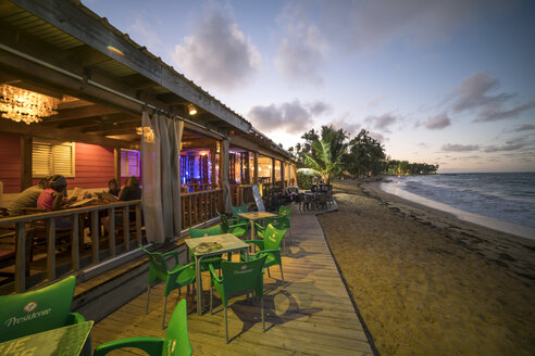 Dominican Republic, Samana, Las Terrenas, Restaurant at the beach in the evening - PC000245