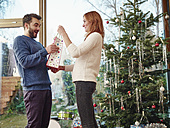 Couple standing in front of Christmas tree - RHF001321