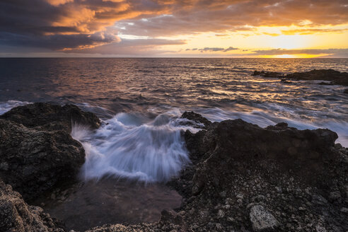 Spain, Tenerife, Landscape at the ocean at sunset - SIPF000239