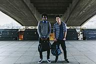 UK, London, two best friends standing side by side - BOYF000127