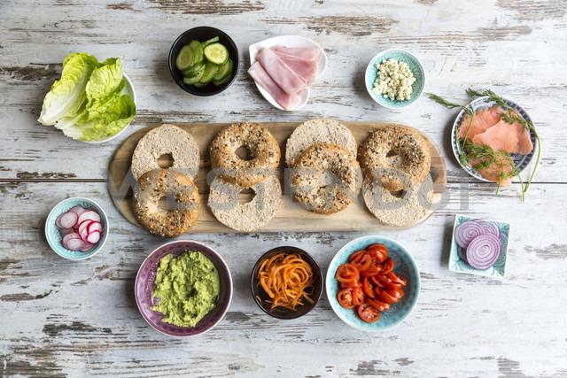 Breakfast, bagels, vegetables, salmon and ham - SARF002623