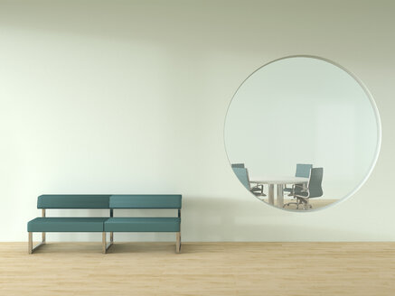 Bench standing in front of wall with oculus and view into meeting room - UWF000793