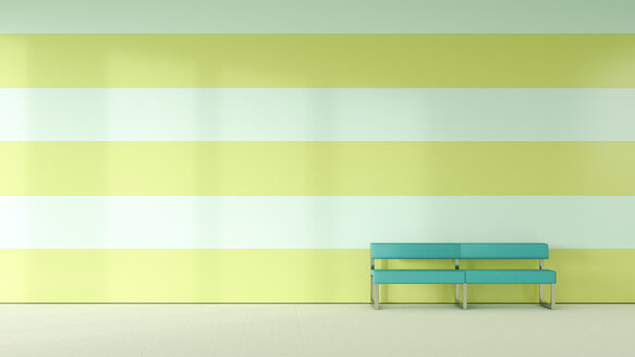 Waiting room with bench in front of striped wall - UWF000796