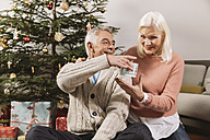 Senior couple exchanging Christmas gifts in front of tree - MFF002774