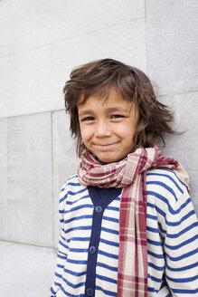 Portrait of smiling little boy wearing scarf - VABF000321