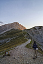 Italy, Abruzzo, Gran Sasso e Monti della Laga National Park, Hiker on the track to summit of Corno Grande - LOMF000230