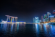 Singapore, view to Marina Bay Sands Hotel and high-rise buildings at night - LEF000001