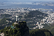 Brazil, Aerial view of Rio De Janeiro, Corcovado mountain with statue of Christ the Redeemer - MAUF000306