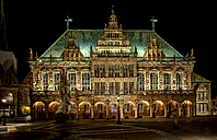 Germany, Bremen, view to illuminated Bremen City Hall at night - TIF000076