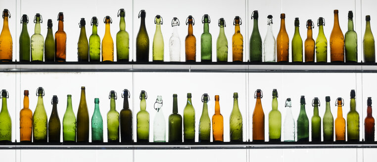 Two rows of different beer bottles - WGF000838