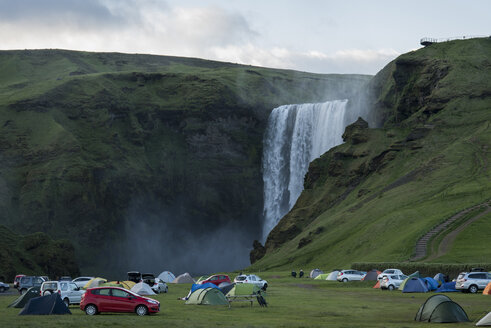 Iceland, tent camp at Skogafoss waterfalll - PA001646