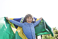 Happy little boy with a Brazilian flag - VABF000361