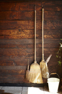 Three brooms hanging on wooden wall - SABF000054