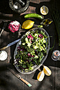 Spring salad of baby spinach, herbs, arugula and lettuce, dressing of yogurt, olive oil, honey and lemon - DEGF000701