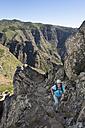Spain, Canary Islands, La Gomera, La Fortaleza Mountain, femal mountaineer - SIEF006999