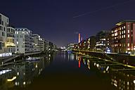 Germany, Frankfurt, Illuminated Westhafen - FDF000152