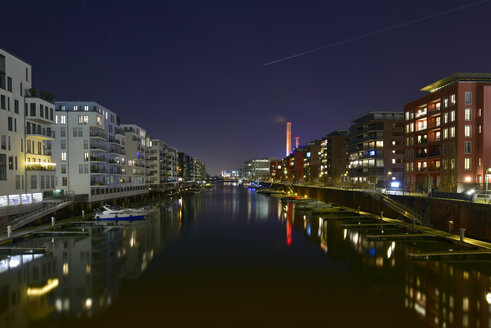 Germany, Frankfurt, Illuminated Westhafen - FDF000152