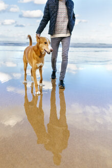 Man walking on the beach with his dog - MGOF001602