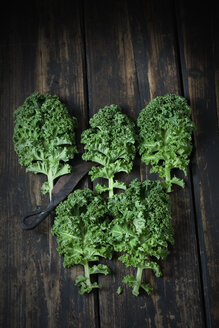 Kale leaves on dark wood - CSF027362