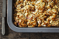 Baking tray of whole meal apple pie with sliced almonds - EVGF002857
