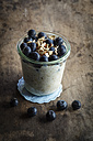 Glass of porridge with blueberries and chia seed - EVGF002884