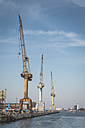Germany, Warnemuende, Baltic Sea, Rostock Port, cranes - ASCF000550