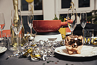 Laid table with cheese fondue for New Year's Eve party - MFF002922