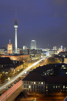 Germany, Berlin-Mitte, Alexanderplatz, Red Town Hall, Berlin TV Tower and Leipziger Strasse in the evening - BFRF001771