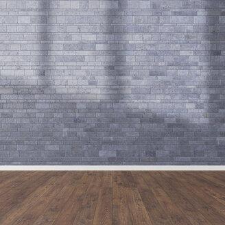 3D Rendering, wooden floor and stone wall - UWF000823