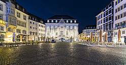 Germany, Bonn, view to town hall at marketplace before sunrise - TAMF000446