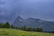Italy, Trentino, Dolomites, Passo Rolle, Lightning strikes, mountain - RUEF001666